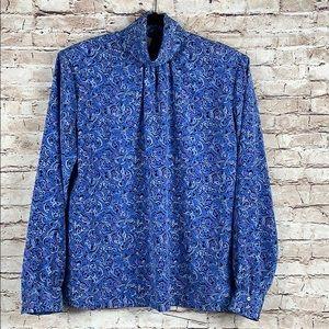 Pendleton Floral Blouse Blue Turtleneck